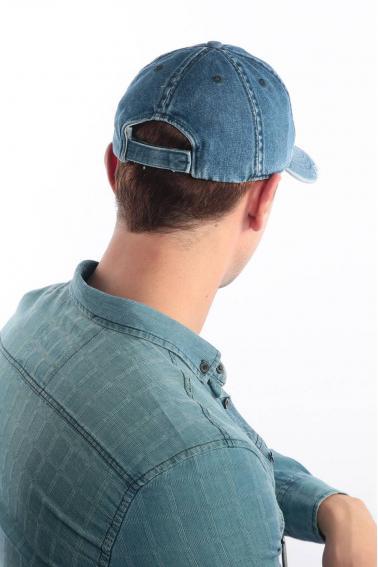 Erkek Denim Blue FBI Nakışlı Kot Şapka Ş8311