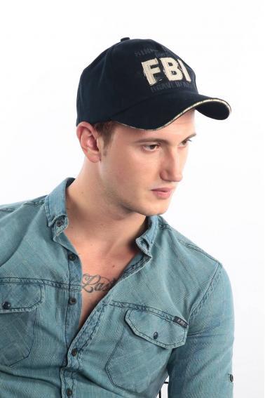 Erkek Lacivert FBI Nakışlı Şapka Ş8315