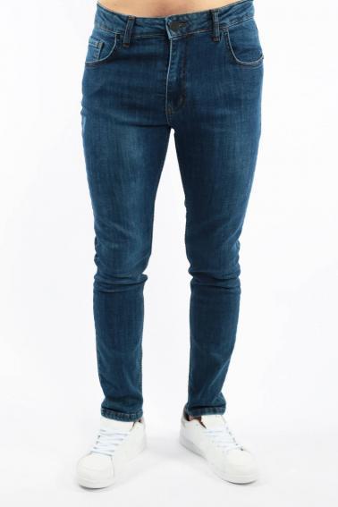 Erkek Navy Berk Jean Slim Fit Dar Kesim Yıkamalı Kot Pantolon F81009