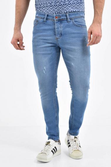 Erkek Buz Mavisi Kot Super Skinny Hafif Tırnak Taşlama Jean Pantolon LB501