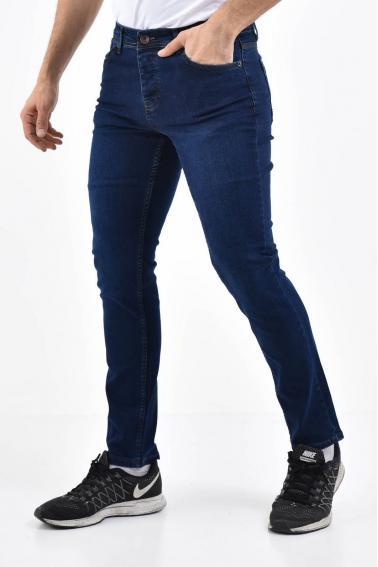 Erkek Koyu Mavi Kot Slim Modern Kesim Yıkamalı Likralı Jean Pantolon L792