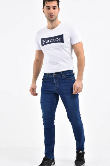 Erkek Lacivert Kot Slim Modern Kesim Yıkamalı Likralı Jean Pantolon L792