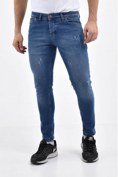 Erkek Blue Kot Super Skinny Hafif Tırnak Taşlama Jean Pantolon LB501