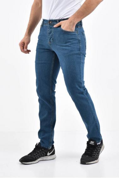 Erkek Petrol Kot Slim Modern Kesim Yıkamalı Likralı Jean Pantolon L696