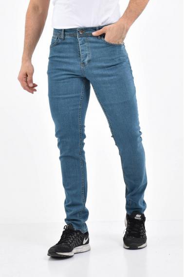 Erkek Açık Petrol Kot Slim Modern Kesim Yıkamalı Likralı Jean Pantolon L696