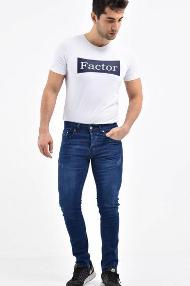 Erkek Lacivert Kot Super Skinny Hafif Tırnak Taşlama Jean Pantolon TK580