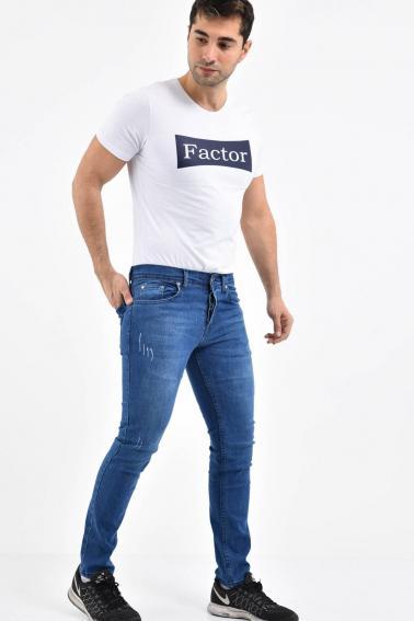 Erkek Mavi Kot Super Skinny Hafif Tırnak Taşlama Jean Pantolon TK580