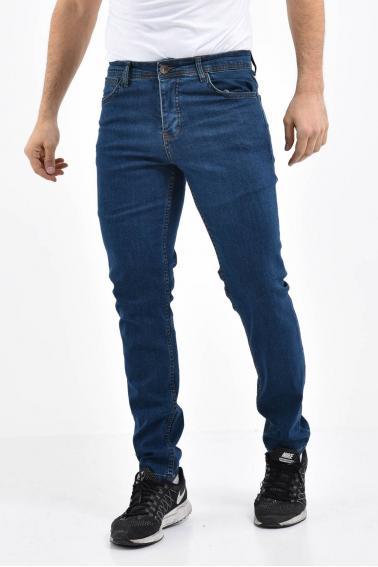 Erkek Lacivert Kot Slim Modern Kesim Yıkamalı Likralı Jean Pantolon L696