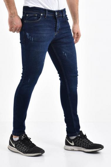 Erkek Navy Kot Super Skinny Hafif Tırnak Taşlama Jean Pantolon LB501