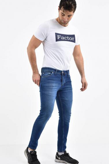 Erkek Mavi Kot Süper Skiny Yıkamalı Likralı Jean Pantolon LB501