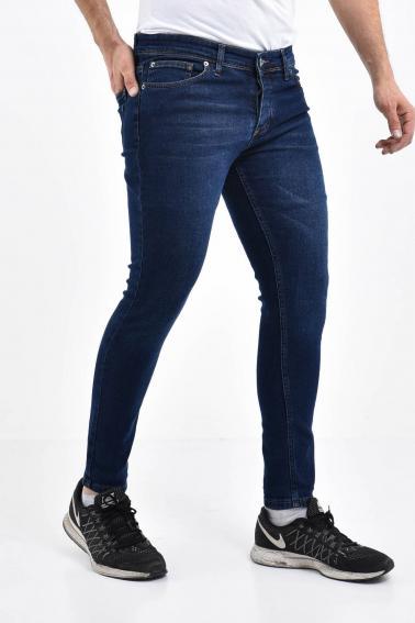 Erkek Koyu Mavi Kot Süper Skiny Yıkamalı Likralı Jean Pantolon LB501