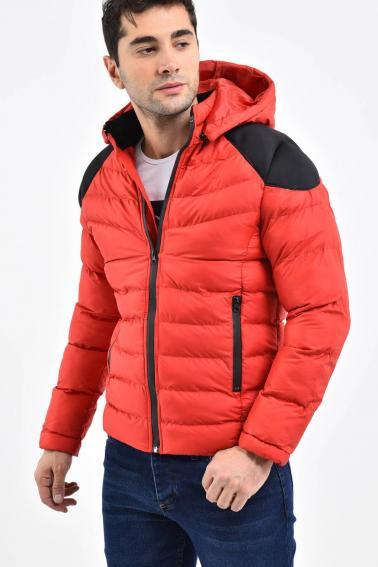 Erkek Kırmızı Çıkarılabilir Kapüşonlu Modern Kesim Şişme Mont F91005